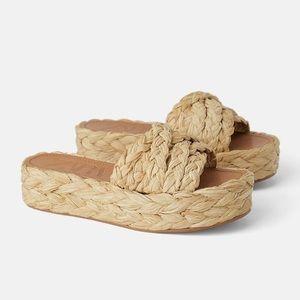 Zara Natural Raffia Platform Wedge Sandals